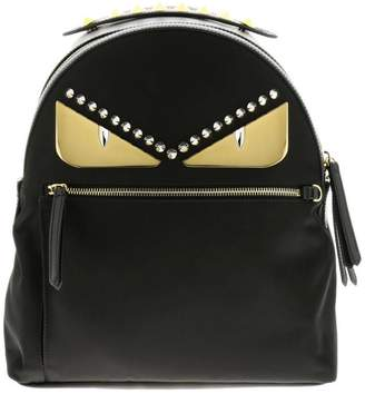 Fendi Backpack Monster Eyes Nylon And Leather Backpack With Bag Bugs Eyes Metal Patch