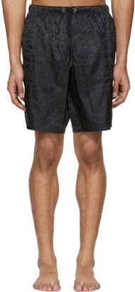 Versace Underwear Black Jacquard Swim Shorts $450 thestylecure.com