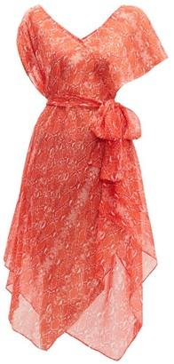 Diane von Furstenberg Serena Python Print Silk Wrap Dress - Womens - Orange