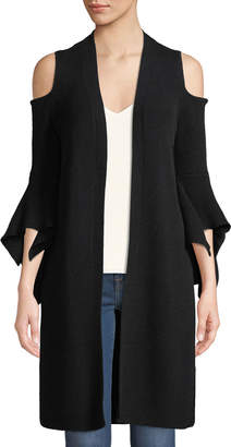 Neiman Marcus Cashmere Cold-Shoulder Flare-Sleeve Cardigan