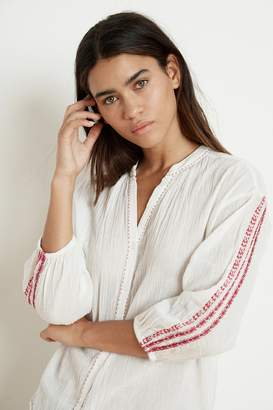 Velvet by Graham & Spencer AUBURN EMBROIDERED URSULA GAUZE BUTTON-UP BLOUSE