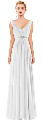CaliaDress Women A Line Ruffles Long Prom Formal Gowns Bridesmaid Dress C0LF US