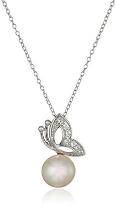 Sterling Silver Freshwater Cultured Pearl 9.5-10mm and Created Sapphire Butterfly Necklace