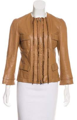 Christian Dior Leather Fringe-Trimmed Jacket