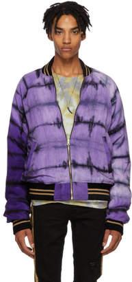 Amiri Purple and Green Tie-Dye Reversible Bomber Jacket