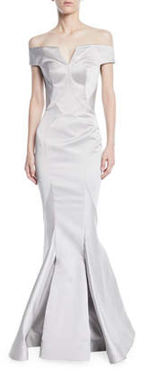 Zac Posen Off-the-Shoulder Mermaid Evening Gown