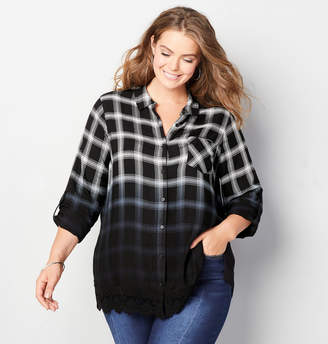 Avenue Dip Dye Plaid Shirt with Lace Trim