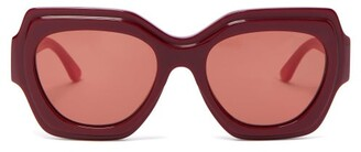 Ganni Bi Colour Square Acetate Sunglasses - Womens - Burgundy