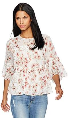 Lucky Brand Women's Floral Ruffle Peasant Blouse