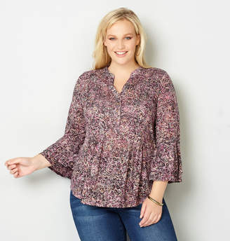 Avenue Floral Burnout Bell Sleeve Top