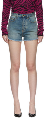 Saint Laurent Blue Denim Raw Edge Shorts