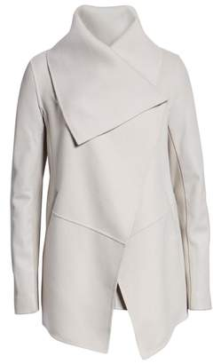 Mackage Vane Asymmetrical Leather Sleeve Coat