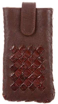 Bottega Veneta Intrecciato-Trimmed Leather iPhone Case