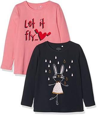 Name It Girl's Nmfvix 2p Ls Top R Long Sleeve Top, Pink (Bubblegum Bubblegum + Dark Sapphire)
