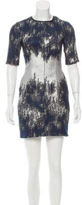 Yigal Azrouel Leather-Trimmed Pattern Dress