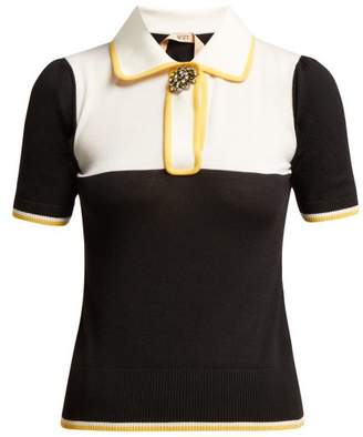 No.21 No. 21 - Crystal Embellished Brooch Polo Top - Womens - Black