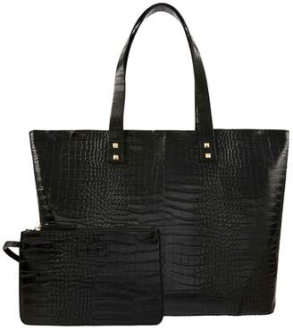 Accessorize Womens Black Croc Tote Bag - Black