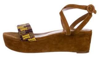 Aquazzura Suede Flatform Beaded Sandals
