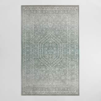 Cost Plus World Market Gray and Blue Tonal Print Woven Wool Aliyah Area Rug