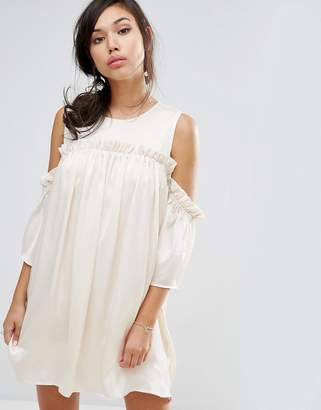 Fashion Union Cold Shoulder Dress With Frill