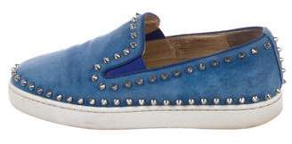 Christian Louboutin Studded Suede Slip on Sneakers