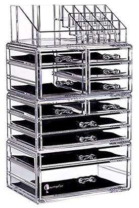clear Cq acrylic Large 9 Tier Acrylic Cosmetic Makeup Storage Cube Organizer with 11 Drawers. It Consists of 4 Separate Organizers