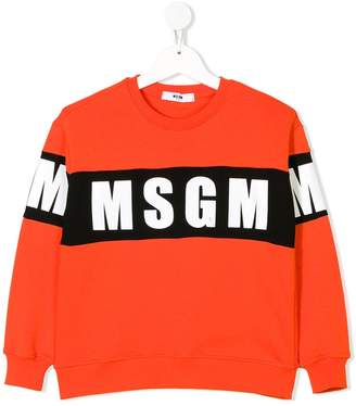 MSGM Kids logo stripe sweatshirt