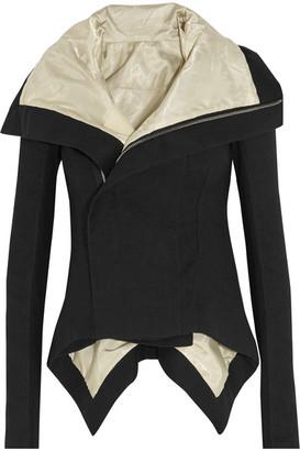 Rick Owens - Naska Asymmetric Wool And Linen-blend Jacket - Black $1,785 thestylecure.com