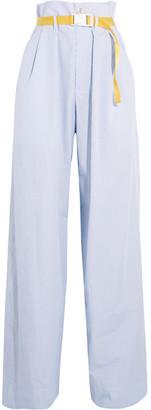 Maison Margiela - Belted Pinstriped Cotton-poplin Wide-leg Pants - Blue $830 thestylecure.com
