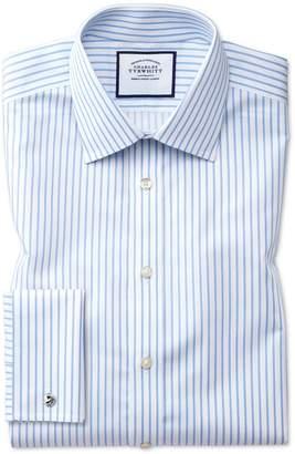 Charles Tyrwhitt Slim Fit Non-Iron Sky Blue Stripe Twill Cotton Dress Shirt French Cuff Size 16/36