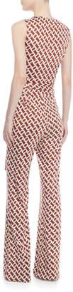 Diane von Furstenberg Terria Palm-Print Wide-Leg Jumpsuit