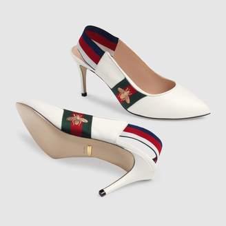 Gucci Leather Web mid-heel slingback pump