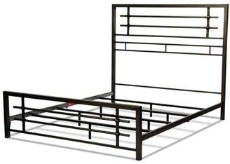 Rails Leggett & Platt Colton Metal SNAP Bed with Folding Frame Bedding Support System and Industrial-Styled Metal Piping, Burnished Black Finish, Queen