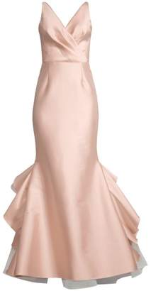 Sachin + Babi Chesterton Satin Wrap Bodice Mermaid Gown