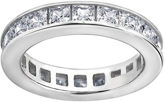 Diamonique Silk Fit Princess Eternity Band Ring, Platinum Cla