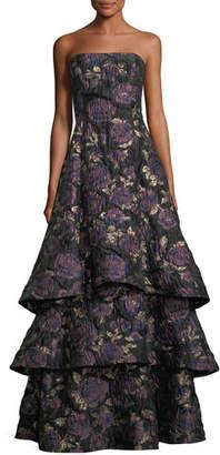 Aidan Mattox Floral Metallic Brocade Tiered-Skirt Evening Gown