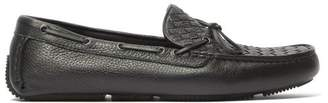 Bottega Veneta Intrecciato Leather Driving Loafers - Mens - Black