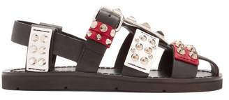Prada Stud Embellished Leather Sandals - Womens - Black Multi