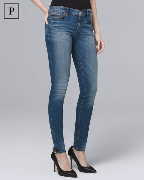 Whbm Petite Classic-Rise Faux Leather-Trim Skinny Ankle Jeans