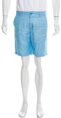 Zilli Alligator-Trimmed Silk Leather Trim Shorts