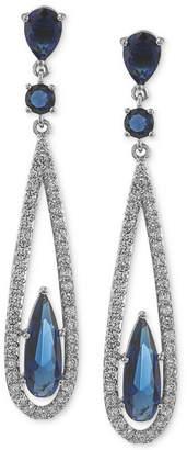 Carolee Earrings, Silver-Tone Blue Glass Bead Linear Drop Earrings
