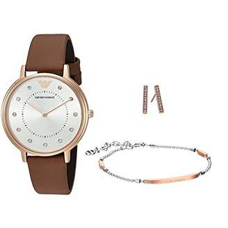 Emporio Armani Women's AR8040 Box Set Leather Quartz Watch Bracelet Earrings