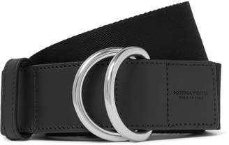 Bottega Veneta 4cm Black Canvas And Leather Belt