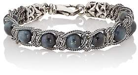 Emanuele Bicocchi Men's Tiger's Eye Beaded Bracelet - Navy
