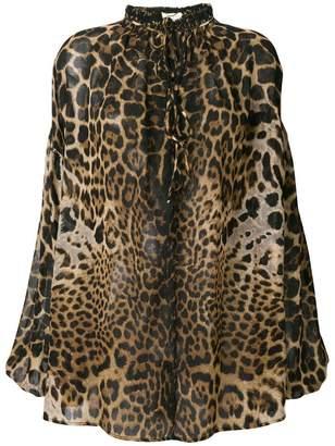 Saint Laurent leopard print lace front shirt