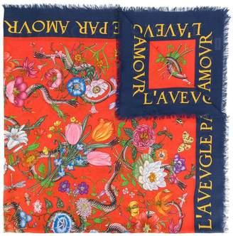 Gucci Flora snake print shawl