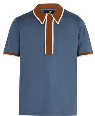 Dunhill Contrast Panel Cotton Polo Shirt - Mens - Blue Multi