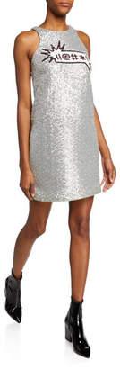 Aidan Mattox Sequin Applique Sleeveless Mini Dress