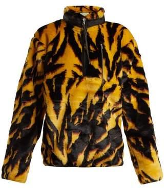 Aries Tiger Print Faux Fur Top - Womens - Black Multi