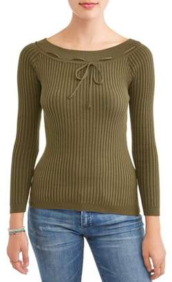 New Look Juniors' Off the Shoulder Long Sleeve Rib Knit T-Shirt with Tie Detail